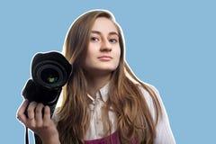 kamery ostrości fotografa kobiety potomstwa zdjęcia royalty free