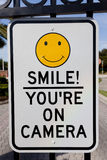 kamery ponowny ochrony znaka uśmiech ty Fotografia Stock