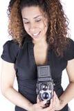 kamery rocznika kobiety potomstwa Fotografia Royalty Free