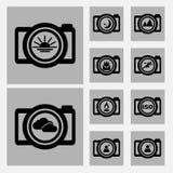 Kamery sceny ikony ustawiają czarny i biały kolor Obrazy Stock