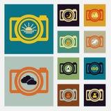 Kamery sceny rocznika ikona ustawiający kolor Zdjęcie Stock