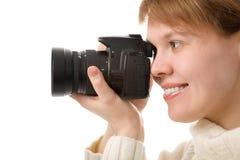 kamery zdjęcie kobiety Zdjęcie Stock