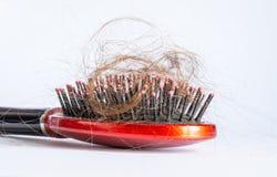 Kamhaar met bosjes, bundel van haar, veel haar op haarborstel dichte omhooggaand op een wit Royalty-vrije Stock Foto