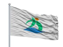 Kami City Flag On Flagpole, Japan, Kochi-Prefectuur, op Witte Achtergrond wordt geïsoleerd die Vector Illustratie