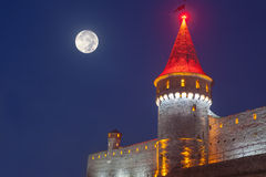Kamianets Podilskyi在夜 库存照片