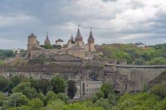 Kamianets-Podilskyi城堡在乌克兰 库存图片