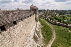 kamianets-podilskyi城堡长城  图库摄影