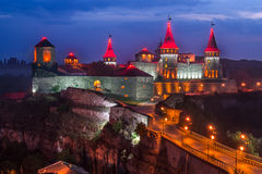 Kamianets-Podilskyi castle. Panoramic view of medieval castle with bridge in Kamianets-Podilskyi, Ukraine. Night view Stock Images