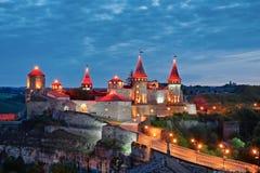 Kamianets-Podilskyi Castle at night, Ukraine Royalty Free Stock Image