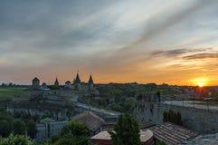 Kamianets-Podilskyi Castle, Ukraine at the sundown Royalty Free Stock Photography