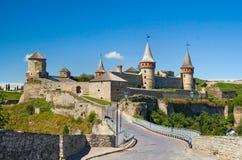 Kamianets-Podilskyi slott, 14th århundrade, Ukraina Royaltyfria Foton
