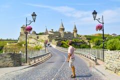 Kamianets-Podilskyi slott, Ukraina arkivbilder