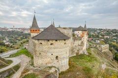 Kamianets-Podilskyi, Ucraina Vecchia fortezza di Kamenetz-Podol'sk vicino alla città di Kamianets-Podilskyi Fotografie Stock