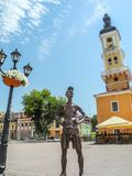 Monument to the tourist in Kamianets-Podilskyi royalty free stock image