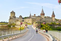 Kamianets-Podilskyi castle, Ukraine stock images