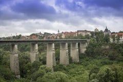 Kamianets-Podilskyi, Ukraine - June 30, 2018: Photo of bridge to the Old Town of Kamenets-Podolsky. stock photography
