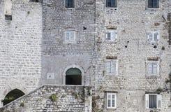 Kamień budował domy stary, średniowieczny miasteczko, Zdjęcie Stock