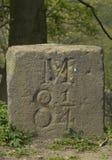 Kamień milowy na kanałowym towpath Obraz Royalty Free