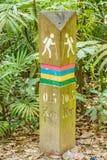 Kamień milowy obok odprowadzenie śladu dla trekking Fotografia Stock