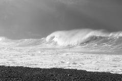 Kamień plaża Camogli z szorstkim morzem Obraz Royalty Free