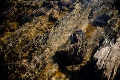 Kamień pod spokojną wodą rzeczną fotografia stock