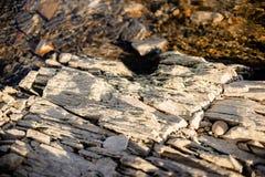 Kamień pod spokojną wodą rzeczną obraz royalty free