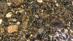 Kamień pod wody rzecznej falą Kamienie pod woda rzeczna przepływem zdjęcie wideo