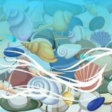 Kamień rama denne skorupy, ilustracja Lata pojęcie z skorupami i dennymi gwiazdami Round skład, rozgwiazda, natury aqua Zdjęcie Stock