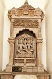 Kamień rzeźbiąca rzeźba na Shantinath świątyni Jain świątynie Khajuraho Zdjęcia Royalty Free