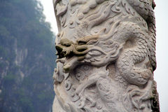 Kamień - rzeźbiący Chiński smok Fotografia Royalty Free