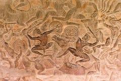 Kamień Rzeźbił przy ścianą Angkor Wat Fotografia Stock