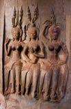 Kamień Rzeźbił przy ścianą Angkor Wat Obrazy Stock