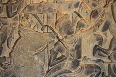 Kamień rzeźbi w Angkor wata ścianie Obraz Stock