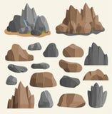 Kamień skały w kreskówka stylu dużego budynku kopalinie wypiętrzają Głaz naturalne skały i kamień granitowa szorstka ilustracja Obraz Royalty Free