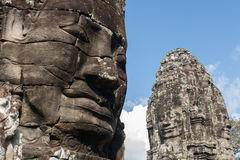 Kamień twarze Bayon świątynia zdjęcie royalty free