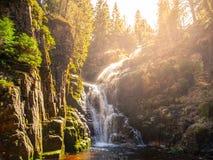 Kamienczyk waterfall near SzklarskaPoreba in Giant mountains or Karkonosze, Poland. Long time exposure.  Royalty Free Stock Photo