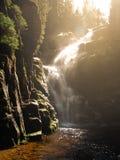 Kamienczyk waterfall near SzklarskaPoreba in Giant mountains or Karkonosze, Poland. Long time exposure.  Stock Images