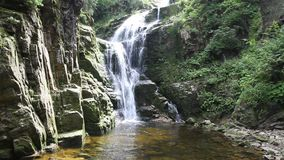 Kamienczyk waterfall in Poland stock footage
