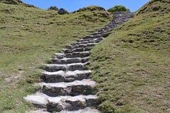 Kamieni kroki cią w trawiastego banka prowadzenie w górę zbocza szczyt fotografia stock