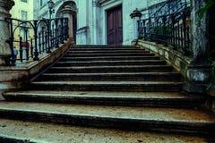 Kamieni kroki drzwi stary dom Zdjęcie Royalty Free