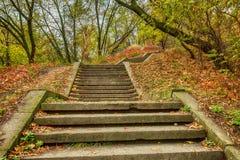 Kamieni kroki w spadku miasta parku Jesieni miasta ocena Zdjęcie Stock