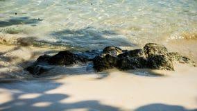 Kamienia i plaży woda pluskocze z jatą od drzewa w karimun jawie fotografia stock