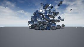 Kamienia lub metalu piłka śpieszy się wewnątrz od bomby która uderzenia ja realistyczna wybuchu 3d animacja ilustracji