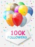 Kamienia milowego 100000 zwolennicy Tło z balonami Zdjęcia Stock