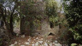 Kamieniarstwo ampuła ciosający kamienie przerastający z lasami antyczny miasto zbiory wideo