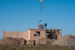 Kamieniarzi na domu w budowie Zdjęcie Stock