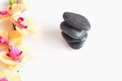 Kamienie dla relaksu i orchidei rozgałęziają się na białym tle Zdjęcia Stock