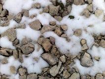 Kamienie i śnieg Fotografia Royalty Free
