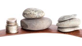Kamienie i pieniądze Zdjęcia Stock