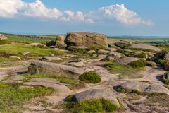 Kamienie na górze Higger Tor, South Yorkshire, Anglia, UK zdjęcie stock